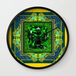 YELLOW  DECORATIVE  GREEN EMERALD GEM & BUTTERFLY ART Wall Clock