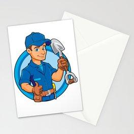 Cartoon plumber holding a big shovel. Stationery Cards