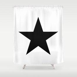Single black star on white Shower Curtain