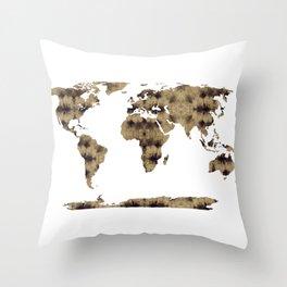 Shibori Map of World 7 Throw Pillow