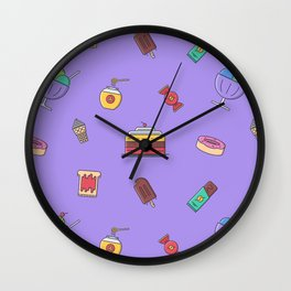 Cafe food icon pattern Wall Clock