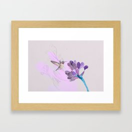 Hummingbird with purple flower watercolor Framed Art Print