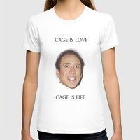nicolas cage T-shirts featuring Cage is Love // Cage is Life by Jared Cady