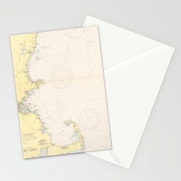 Vintage Map of The New England Coastline (1942) Stationery Cards