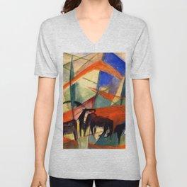 """Franz Marc """"Landscape with Black Horses"""" Unisex V-Neck"""