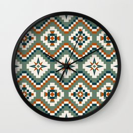 Aztec Tribal Pattern in Olive, Burnt Orange and Cream Wall Clock