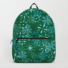 Snowflakes Falling Green Background, Christmas and Holiday Fantasy Collection Backpack