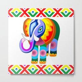 Elephant Rainbow Colors Patchwork Metal Print
