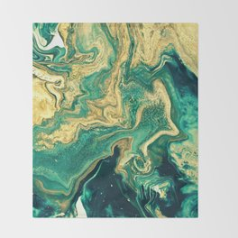 M A R B L E - emerald & brass Throw Blanket