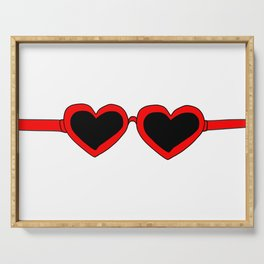 Red Heart Shaped Sunglasses Serving Tray