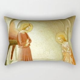 """Fra Angelico (Guido di Pietro) """"Annunciation with Saint Peter the Martyr"""" Rectangular Pillow"""