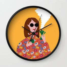 Girl with an Italian coffe maker // Fun everyday illustration Wall Clock