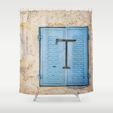 Vibrant Blue Window in Stone Wall Shower Curtain