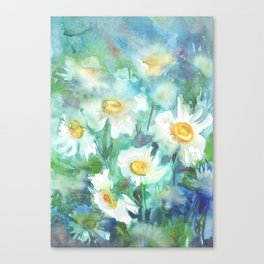 watercolor drawing - white daisies on a blue and green background, beautiful bouquet, painting Canvas Print