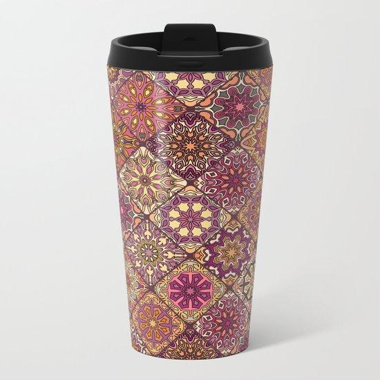 Vintage patchwork with floral mandala elements Metal Travel Mug