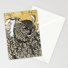 African Eagle Owl by MaxillaMellifer, aka Rosemary Knowles Stationery Cards