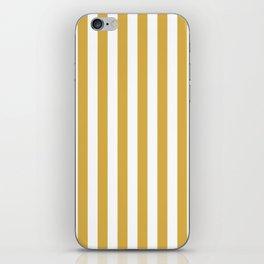 Large Mustard Yellow and White Cabana Tent Stripe iPhone Skin