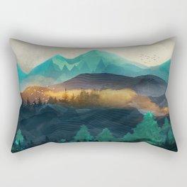 Green Wild Mountainside Rectangular Pillow