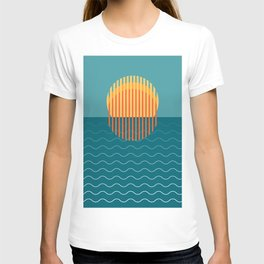 Minimalist Sunset Over Ocean, Travel Print, Sun Set Poster, Large Printable Photography, Wall Art T-shirt
