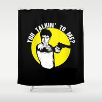 taxi driver Shower Curtains featuring Taxi driver quote v2 by Buby87