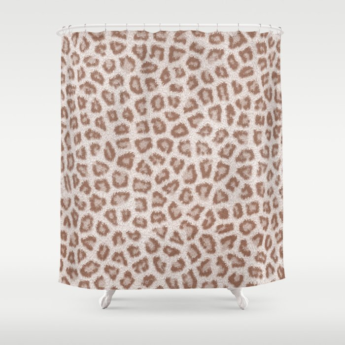 Abstract Hipster Brown White Cheetah Animal Print Shower Curtain