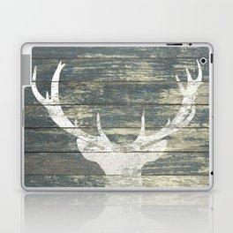 Rustic White Deer Silhouette Teal Wood A311 Laptop & iPad Skin