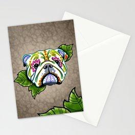 English Bulldog - Day of the Dead Sugar Skull Dog Stationery Cards