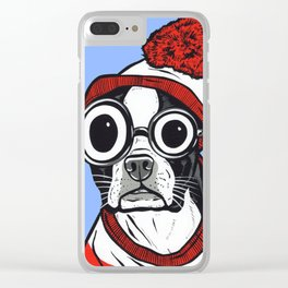 Boston Terrier Striped Shirt Clear iPhone Case