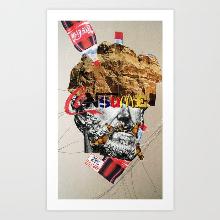 Consume head Art Print