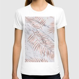 Rose gold palm fronds on marble T-shirt