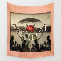samurai Wall Tapestries featuring samurai by Rosa Picnic