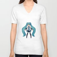 vocaloid V-neck T-shirts featuring Digital Song by Nozubozu