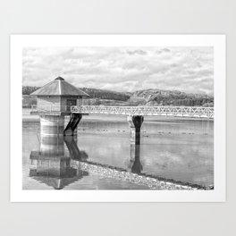 Cropston Reservoir Black And White Art Print