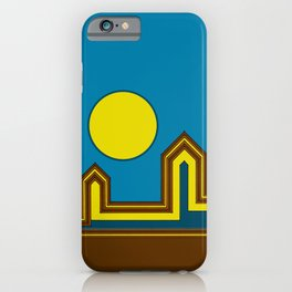 Line Houses with Yellow Sun iPhone Case