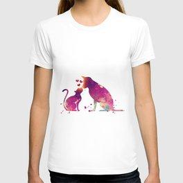 Cat and Dog Art Love Gift Animals Art Colorful Purple Watercolor Art Gift Pets Art T-shirt