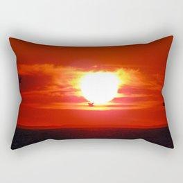 Heart Shaped Sunset Rectangular Pillow