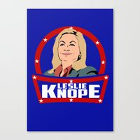 leslie knope Canvas Prints featuring Leslie Knope by SuperEdu