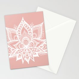 White Lotus Flower on Rose Gold Stationery Cards