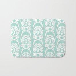 Crackled Scrolled Ikat Pattern - Blue White Bath Mat