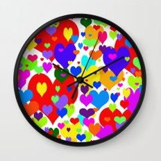 Beaucoup de coeurs de couleur Wall Clock