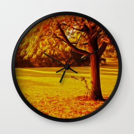 Yellow Autumn Wall Clock
