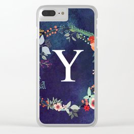 Personalized Monogram Initial Letter Y Floral Wreath Artwork Clear iPhone Case