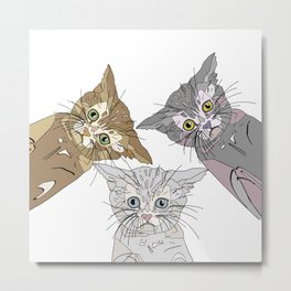Triple Kitties - Three's Company Metal Print
