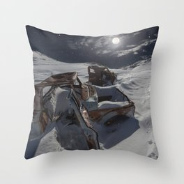 Old abandoned trucks in Jawbone Throw Pillow