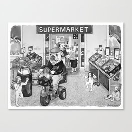 Outside the Supermarket Canvas Print