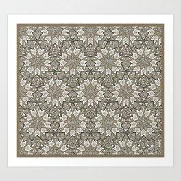 Nine Fold patter in beige Art Print
