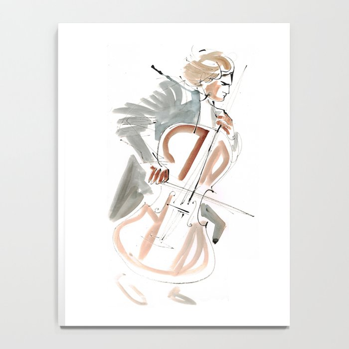 Cello Player Musician Expressive Drawing Notebook