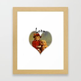 Owl And Pussy Cat Love Heart Design Framed Art Print