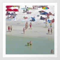 Beach: Boy in Green Art Print