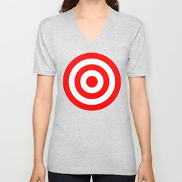 Bullseye Target Red & White Shooting Rings Unisex V-Neck